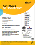 IISO 9001:2015 认证证书 of Registration, MOCAP Park Hills, MO - MOCAP Farmington, MO